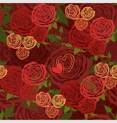 Red valentines day floral seamless pattern vector