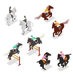 Isometric equestrian sports - polo dressage vector