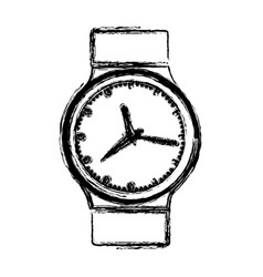 Monochrome blurred silhouette with male wristwatch vector