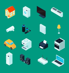 Smart home isometric icons set vector