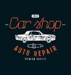Car shop and repair emblem vector