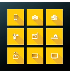 Flat media icon set vector