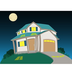 Sweet house at night vector