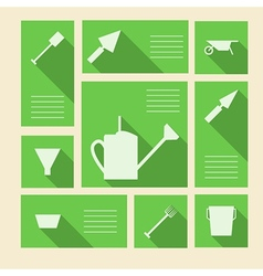 Green icons for gardening tools with place for vector