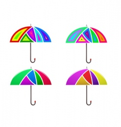 Set of colored abstract umbrella vector