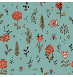Seamless floral pattern with garden flowers vector