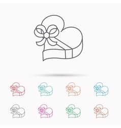 Love gift box icon Heart with bow sign vector image