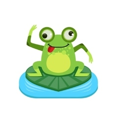 Crazy cartoon frog character vector