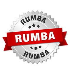 Rumba 3d silver badge with red ribbon vector
