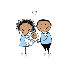 Happy parents with newborn baby vector