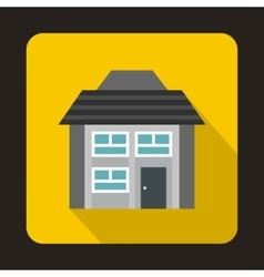Grey two storey house icon in flat style vector