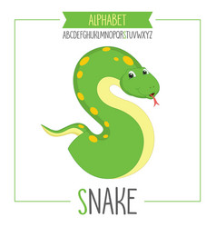 Alphabet letter s and snake vector