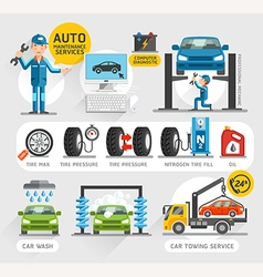 Auto maintenance services icons vector