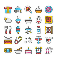 Baby and kids colored icons 2 vector