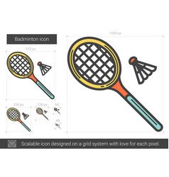 Badminton line icon vector