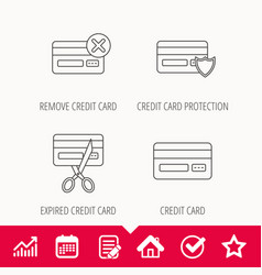 Bank credit card icons banking signs vector