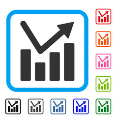 bar chart trend framed icon vector image