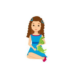 Beautiful girl with a toy in festive moo vector