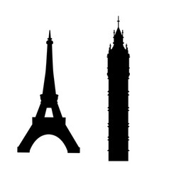 big ben and eiffel tower vector image vector image
