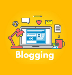 Blogging concept on yellow background laptop with vector