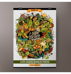 Cartoon hand-drawn doodles Latin American poster vector image vector image