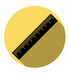 Centimeter ruler sign flat black icon vector