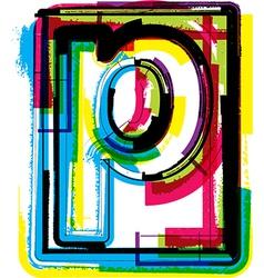 Colorful grunge font letter p vector