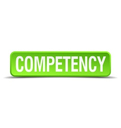 Competency green 3d realistic square isolated vector