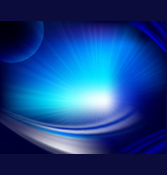 Dark blue background with bright light vector
