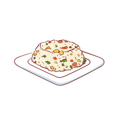 fried rice with vegetables isolated icon vector image
