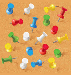 Group of thumbtacks pinned on corkboard vector