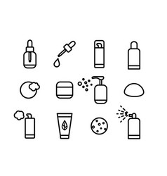 line art cosmetics icons vector image