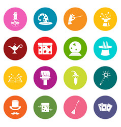 magic icons many colors set vector image