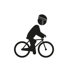 Male bicyclist riding bicycle isolated against vector