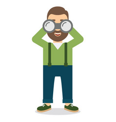 Man with a beard looks at the big binoculars vector