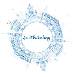 Outline saint petersburg skyline vector