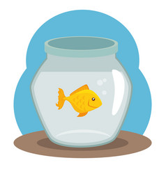 Pet fish bowl icon vector
