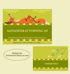 Red fox Birthday Invitation Boho style vector image vector image
