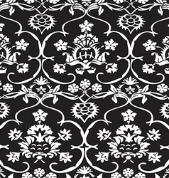 Seamless Floral Pattern Vintage Background Vector Image Black And White