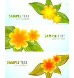 Set of banners with flowers vector