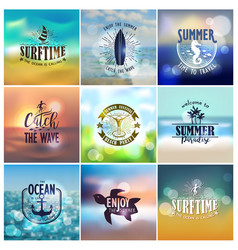 Set of summer travel and vacation designs vector