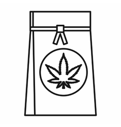 Shop bag with marijuana leaf icon outline style vector image