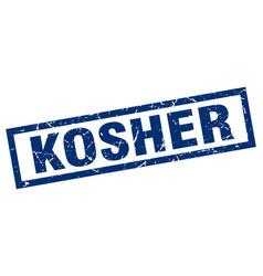 Square grunge blue kosher stamp vector