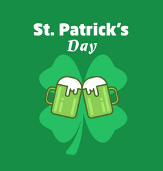 St patricks day greeting beer icon two vector