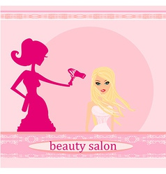 stylist drying woman hair in hairdresser salon vector image vector image
