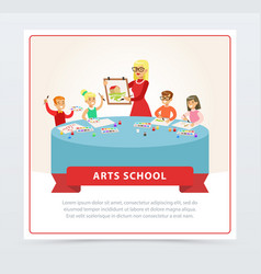 teacher and children at drawing lesson vector image vector image