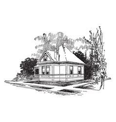 The american small one bedroom bungalow vintage vector