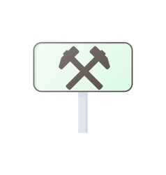 Two hammers road sign icon cartoon style vector image