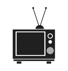 Vintage tv with antenna electrical equipment vector