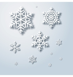 Winter snowflakes background snowflake with shadow vector image